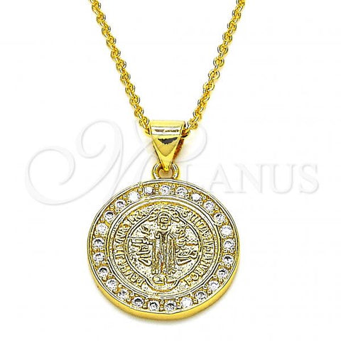 Gold Layered 04.313.0016.18 Fancy Necklace, San Benito Design, with White Cubic Zirconia, Polished Finish, Golden Tone