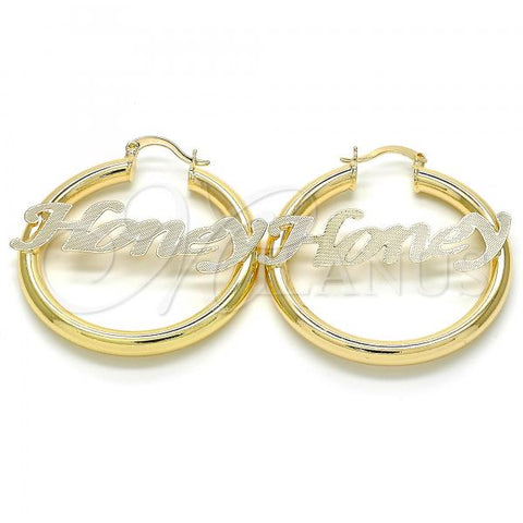 Gold Layered Medium Hoop, Nameplate Design, Golden Tone