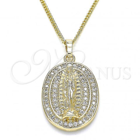 Gold Layered 04.284.0044.20 Pendant Necklace, Guadalupe Design, with White Micro Pave, Polished Finish, Golden Tone