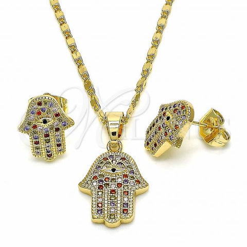 Gold Layered 10.316.0051 Earring and Pendant Adult Set, Hand of God Design, with Multicolor Cubic Zirconia, Polished Finish, Golden Tone