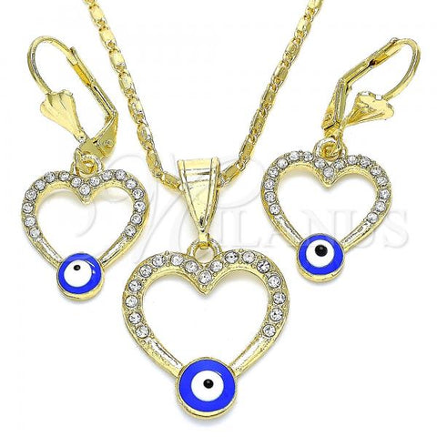 Gold Layered 10.351.0015 Earring and Pendant Adult Set, Heart and Greek Eye Design, with White Crystal, Blue Enamel Finish, Golden Tone