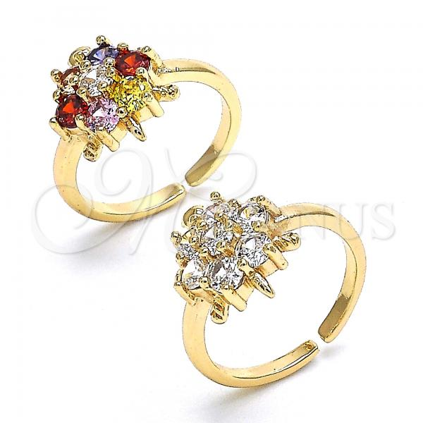 Gold Layered Multi Stone Ring, Flower and Turtle Design, with Cubic Zirconia, Golden Tone
