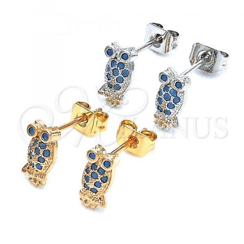 Gold Layered Stud Earring, Owl Design, with Cubic Zirconia, Golden Tone