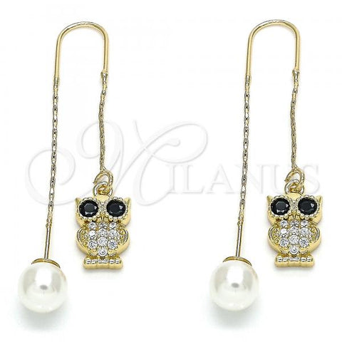 Gold Layered 02.210.0347 Threader Earring, Owl Design, with Black and White Micro Pave, Polished Finish, Golden Tone
