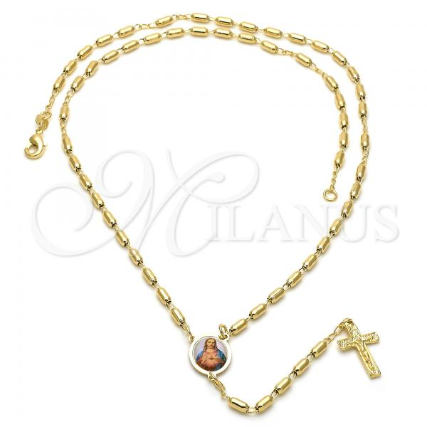 Gold Layered 5.213.007 Thin Rosary, Sagrado Corazon de Jesus and Crucifix Design, Polished Finish, Golden Tone