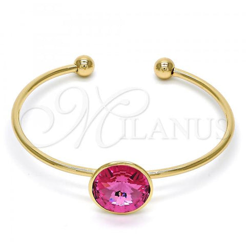 Gold Layered Individual Bangle, with Swarovski Crystals, Golden Tone
