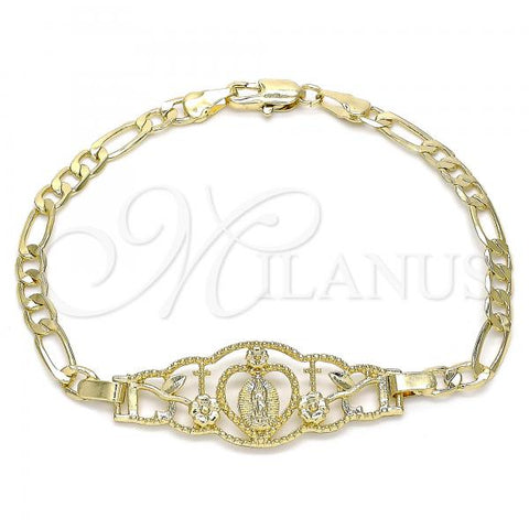 Gold Layered 03.351.0087.08 Fancy Bracelet, Guadalupe and Heart Design, Polished Finish, Golden Tone
