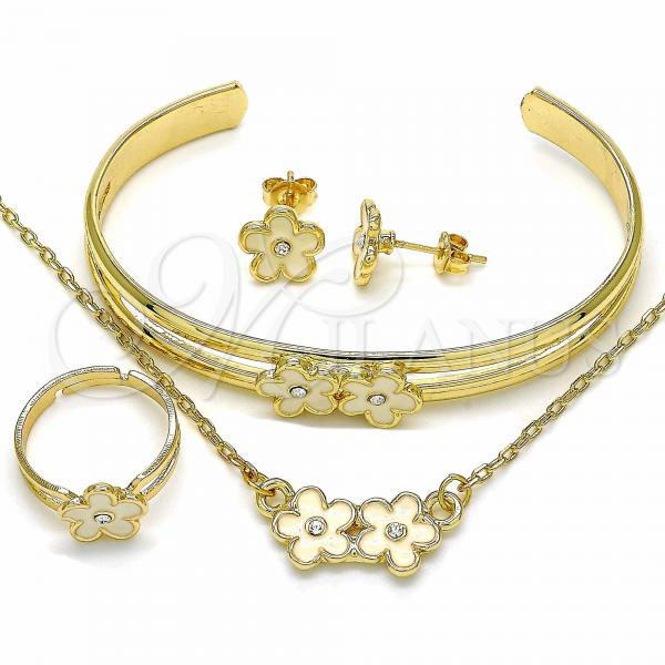 Gold Layered 06.361.0009 Necklace, Bracelet, Earring and Ring, Flower Design, with White Crystal, White Enamel Finish, Golden Tone