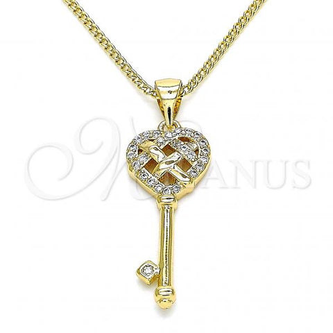 Gold Layered 04.342.0018.20 Pendant Necklace, key and Heart Design, with White Micro Pave, Polished Finish, Golden Tone