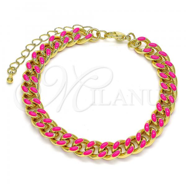 Gold Layered 03.341.0075.6.07 Basic Bracelet, Miami Cuban Design, Dark Pink Enamel Finish, Golden Tone