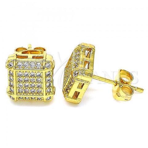 Gold Layered 02.342.0034 Stud Earring, with White Micro Pave, Polished Finish, Golden Tone