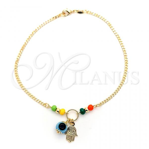 Gold Layered 03.32.0284.10 Charm Anklet , Hand of God and Greek Eye Design, with Yellow and Orange Opal, Polished Finish, Golden Tone