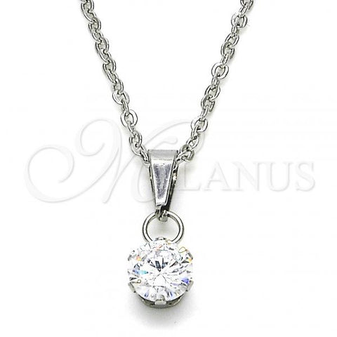 Stainless Steel 04.63.1391.18 Fancy Necklace, with White Cubic Zirconia, Polished Finish, Steel Tone
