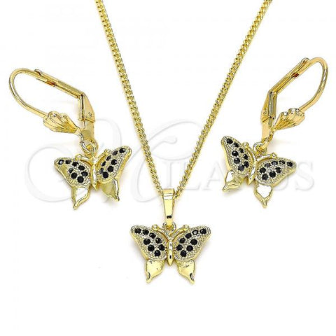 Gold Layered 10.316.0058.2 Earring and Pendant Adult Set, Butterfly Design, with Black Micro Pave, Polished Finish, Golden Tone