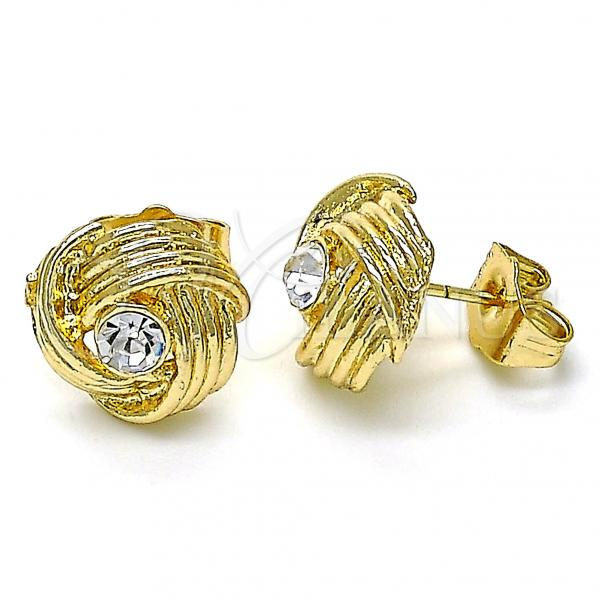 Gold Layered 02.213.0166 Stud Earring, Love Knot Design, with White Cubic Zirconia, Polished Finish, Golden Tone