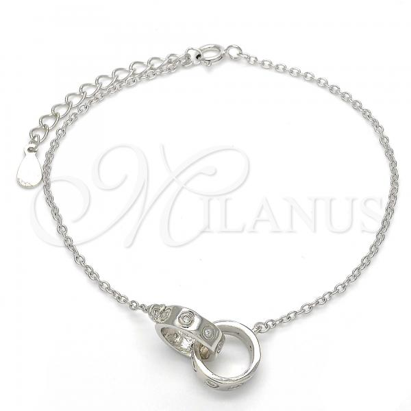 Sterling Silver 03.336.0022.07 Fancy Bracelet, with White Cubic Zirconia, Polished Finish, Rhodium Tone