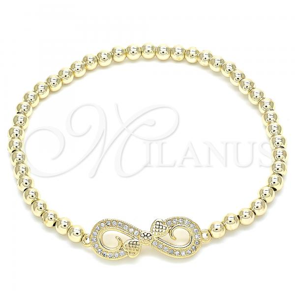Gold Layered 03.299.0033.07 Fancy Bracelet, Infinite and Infinite Design, with White Cubic Zirconia, Polished Finish, Golden Tone