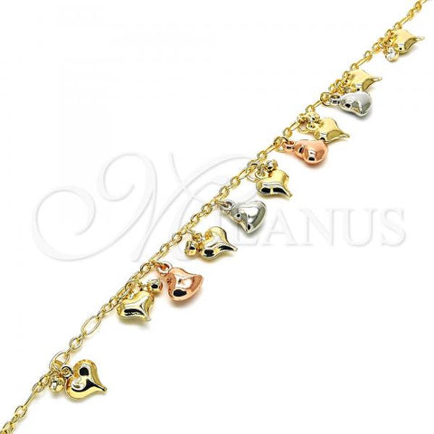 Gold Layered 03.331.0021.10 Charm Anklet , Heart and Hollow Design, with White Crystal, Polished Finish, Tri Tone