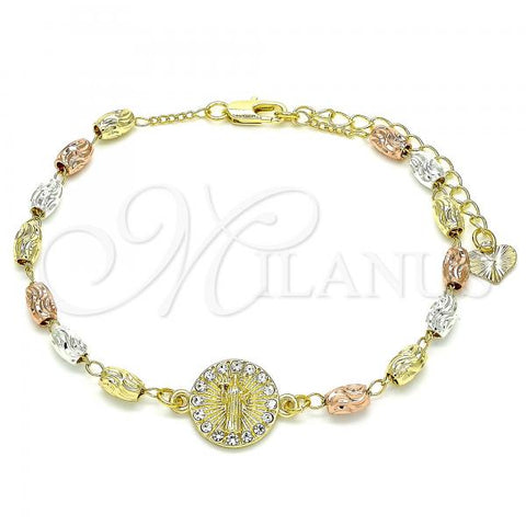 Gold Layered 03.253.0057.07 Fancy Bracelet, San Benito Design, with White Crystal, Diamond Cutting Finish, Tri Tone