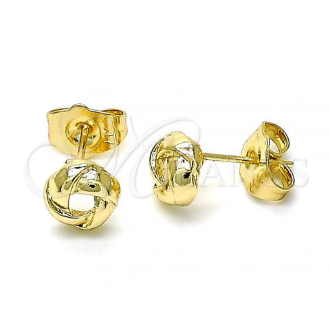 Gold Layered 02.213.0167 Stud Earring, Love Knot Design, Polished Finish, Golden Tone