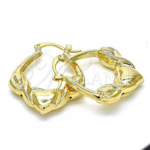 Gold Layered 02.09.0177.30 Small Hoop, Hollow and Hugs and Kisses Design, Polished Finish, Golden Tone