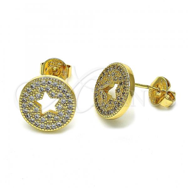 Gold Layered 02.94.0081 Stud Earring, Star Design, with White Micro Pave, Polished Finish, Golden Tone