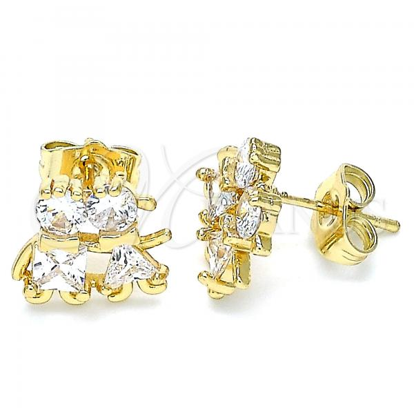 Gold Layered 02.210.0373 Stud Earring, Little Girl and Little Boy Design, with White Cubic Zirconia, Polished Finish, Golden Tone
