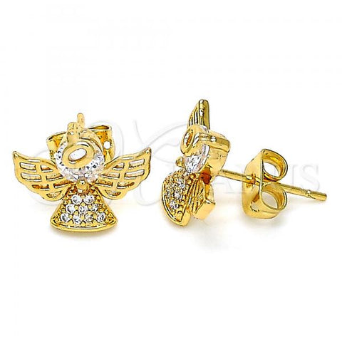 Gold Layered 02.377.0019 Stud Earring, Cross Design, with White Micro Pave, Polished Finish, Golden Tone