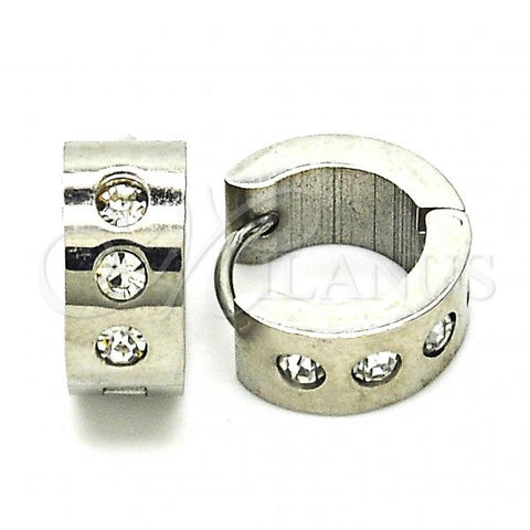 Stainless Steel 02.216.0052.15 Huggie Hoop, with White Crystal, Polished Finish, Steel Tone