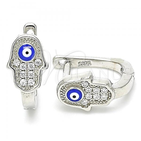 Sterling Silver 02.336.0155.12 Huggie Hoop, Hand of God and Greek Eye Design, with White Crystal, Blue Enamel Finish, Rhodium Tone