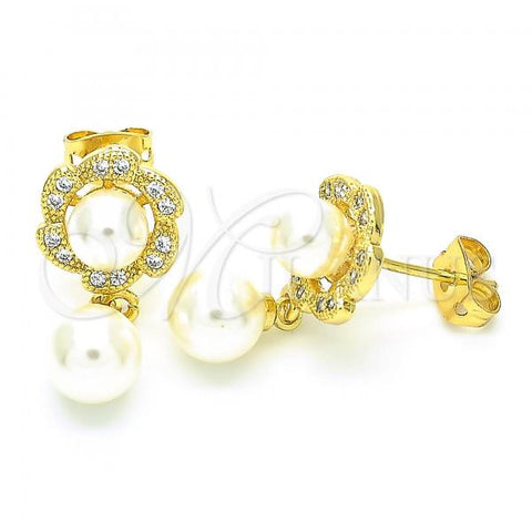 Gold Layered 02.156.0402 Dangle Earring, Ball Design, with Ivory Pearl and White Cubic Zirconia, Polished Finish, Golden Tone