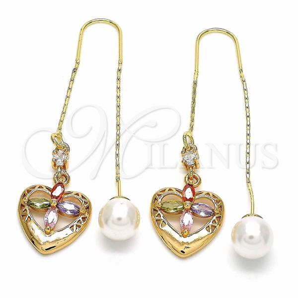 Gold Layered 02.323.0081 Threader Earring, Heart and Flower Design, with Multicolor Cubic Zirconia, Polished Finish, Golden Tone