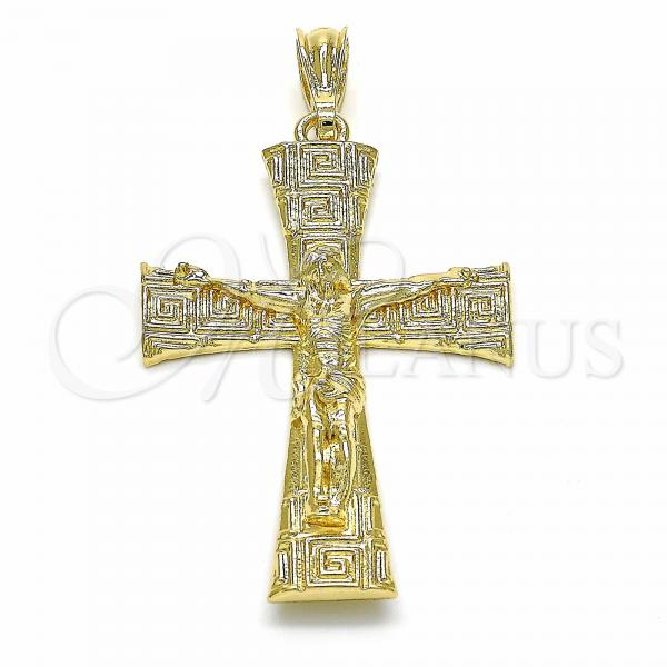 Gold Layered 05.351.0028 Religious Pendant, Crucifix and Greek Key Design, Polished Finish, Golden Tone