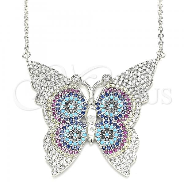 Sterling Silver 04.336.0216.16 Fancy Necklace, Butterfly Design, with Multicolor Micro Pave, Polished Finish, Rhodium Tone