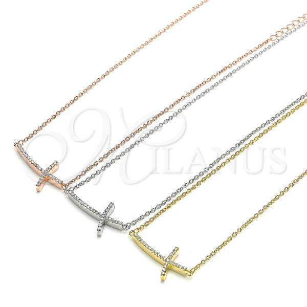 Sterling Silver Pendant Necklace, Cross Design, with Cubic Zirconia, Rhodium Tone