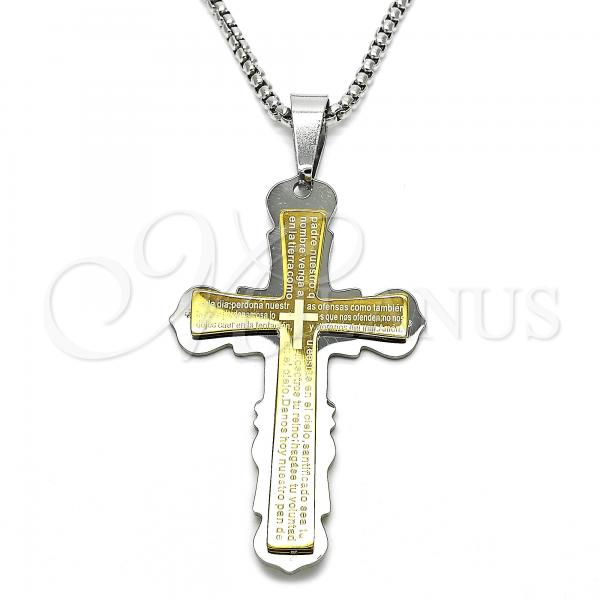 Stainless Steel 04.116.0031.30 Fancy Necklace, Cross Design, Polished Finish, Two Tone