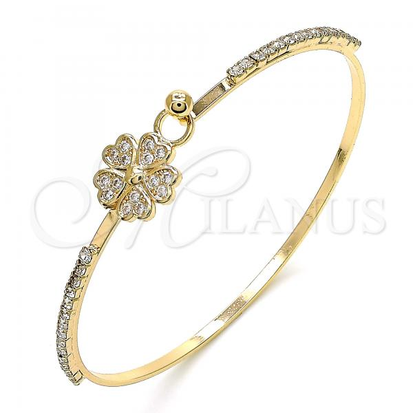 Gold Layered 07.193.0024.04 Individual Bangle, Flower and Heart Design, with White Micro Pave and White Crystal, Polished Finish, Golden Tone (02 MM Thickness, Size 4 - 2.25 Diameter)