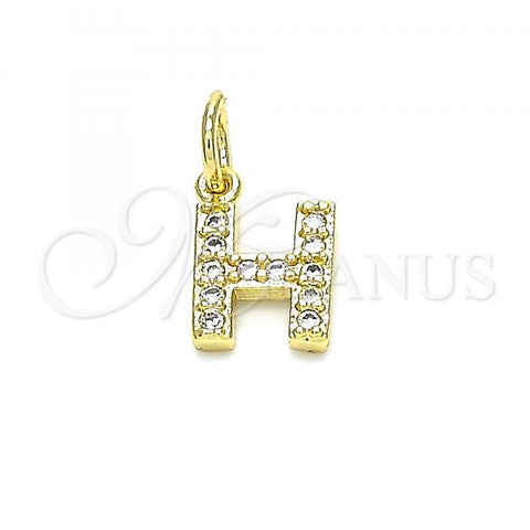 Gold Layered 05.341.0028 Fancy Pendant, Initials Design, with White Cubic Zirconia, Polished Finish, Golden Tone