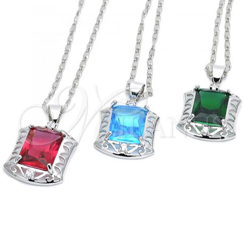 Rhodium Plated Pendant Necklace, with Cubic Zirconia and Micro Pave, Rhodium Tone