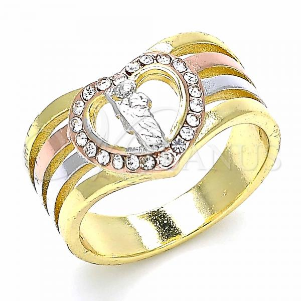 Gold Layered Multi Stone Ring, San Judas and Heart Design, with Crystal, Tri Tone