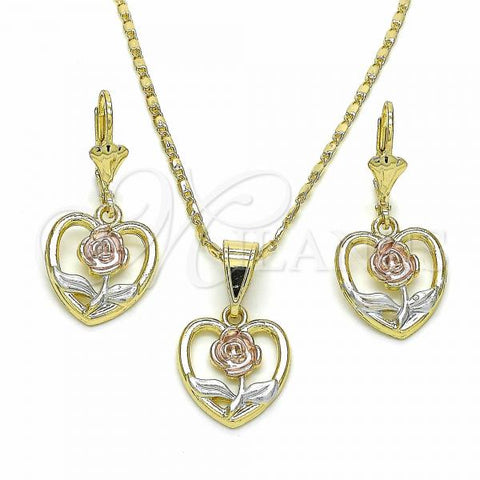 Gold Layered 10.351.0003 Earring and Pendant Adult Set, Heart and Flower Design, Polished Finish, Tri Tone