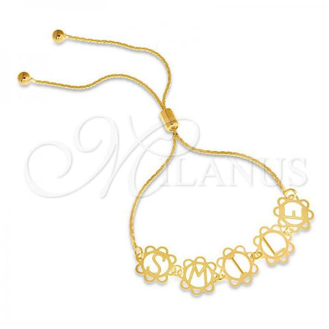 Gold Layered 03.32.0165 Fancy Bracelet, Initials Design, Polished Finish, Golden Tone