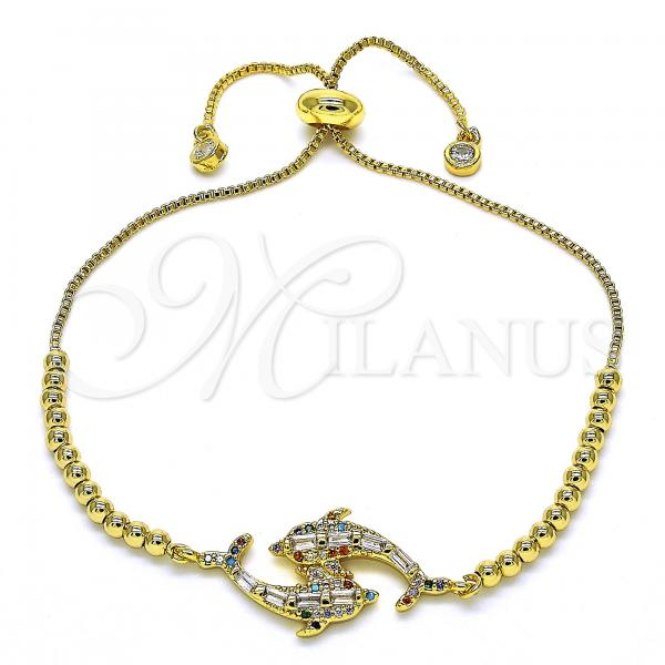 Gold Layered 03.341.0002.11 Fancy Bracelet, Dolphin Design, with Multicolor Cubic Zirconia, Polished Finish, Golden Tone