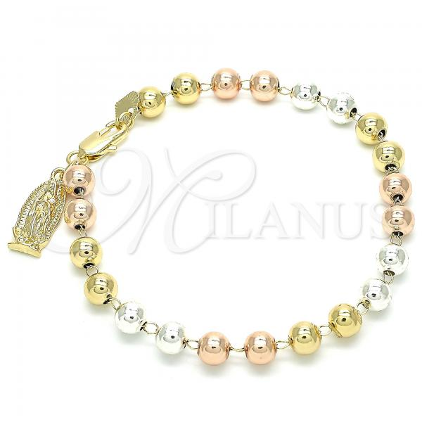 Gold Layered 03.351.0080.08 Charm Bracelet, Guadalupe Design, Polished Finish, Tri Tone