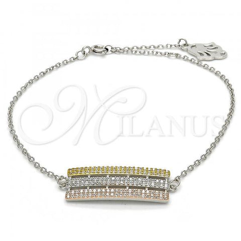 Sterling Silver 03.336.0030.08 Fancy Bracelet, with White Micro Pave, Polished Finish, Tri Tone