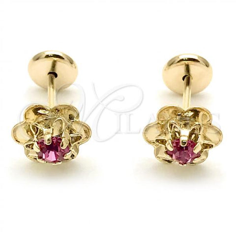 Gold Layered 02.09.0201.1 Leverback Earring, Flower Design, with Pink Cubic Zirconia, Polished Finish, Golden Tone