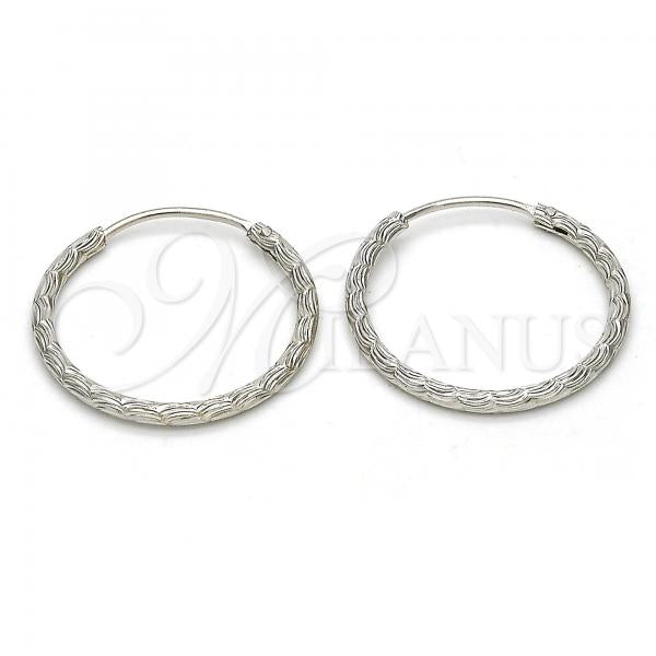 Sterling Silver Small Hoop, Rhodium Tone