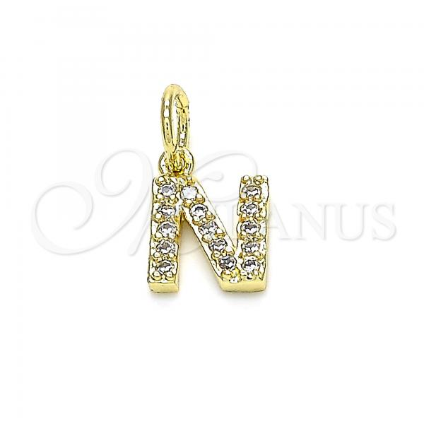 Gold Layered 05.341.0033 Fancy Pendant, Initials Design, with White Cubic Zirconia, Polished Finish, Golden Tone