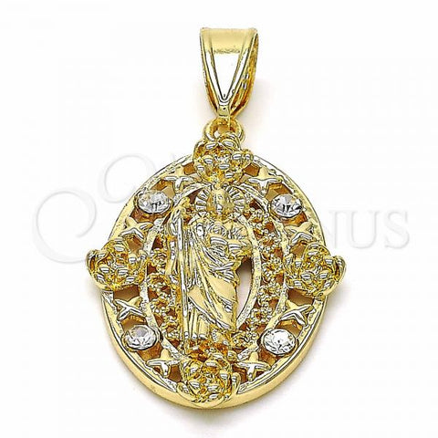 Gold Layered 05.253.0067 Religious Pendant, San Judas and Flower Design, with White Crystal, Polished Finish, Golden Tone