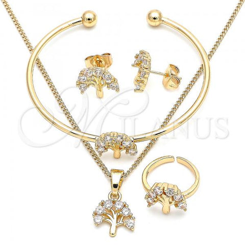 Gold Layered 06.210.0023 Earring and Pendant Children Set, Tree Design, with White Cubic Zirconia, Polished Finish, Golden Tone